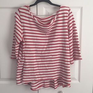 Free People Stripe Top Boat Neck Red White